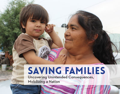 "Cover of ""Saving Familes."" An adult holds a child in their arms. The adult is looking at the child. The child is looking toward the viewer."