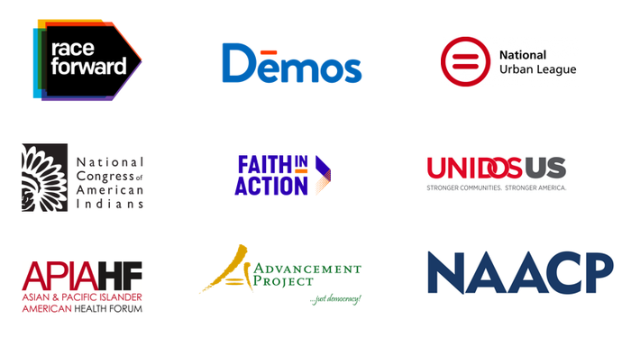 Logos of racial justice orgs: Race Forward, Demos, National Urban League, National Congress of American Indians, Faith in Action, UNIDOS US, Asian & Pacific Islander American Health Forum, Advancement Project, and NAACP.