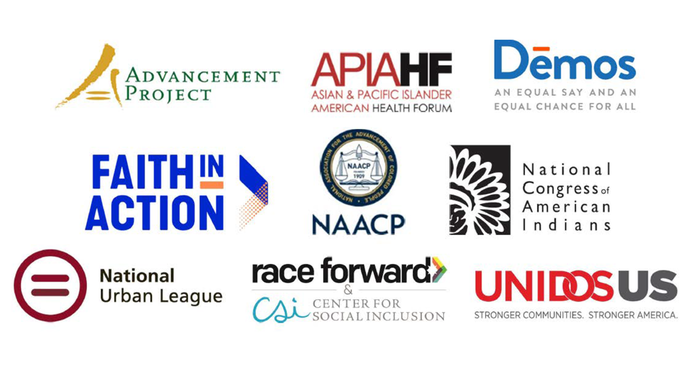 Logos: Advancement Project, Asian & Pacific Islander American Health Forum, Demos, Faith in Action, NAACP, National Congress of American Indians, National Urban League, Race Forward & CSI, Unidos US