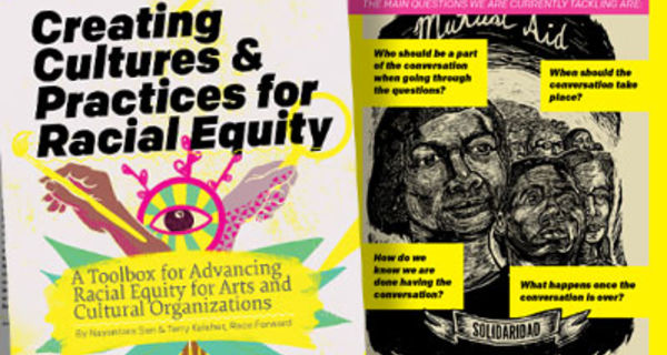 """Cover for Creating Cultures & Practices for Racial Equity with stylized hands and holding a paintbrush and a magnifying glass next to an eye with radiating stripes. Subtitle """"A Toolbox for Advancing Racial Equity for Arts and Cultural Organizations."""""""