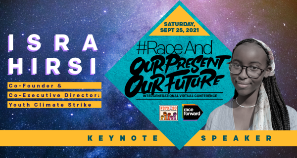 Isra Hirsi, Co-Founder & Co-Executive Director: Youth Climate Strike, on background of starry space. Keynote speaker at #RaceAnd Our Present, Our Future Intergenerational Virtual Conference. Saturday September 25, 2021.
