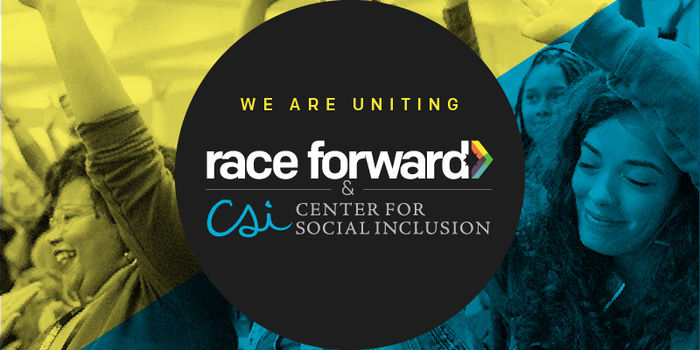 We Are Uniting. Race Forward & CSI logos on a background of people with their arms raised (as if swaying to music).