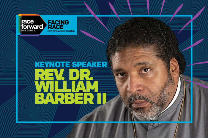 face of Rev Dr William J Barber with a tech background in vibrant blue, green, purple and neon green