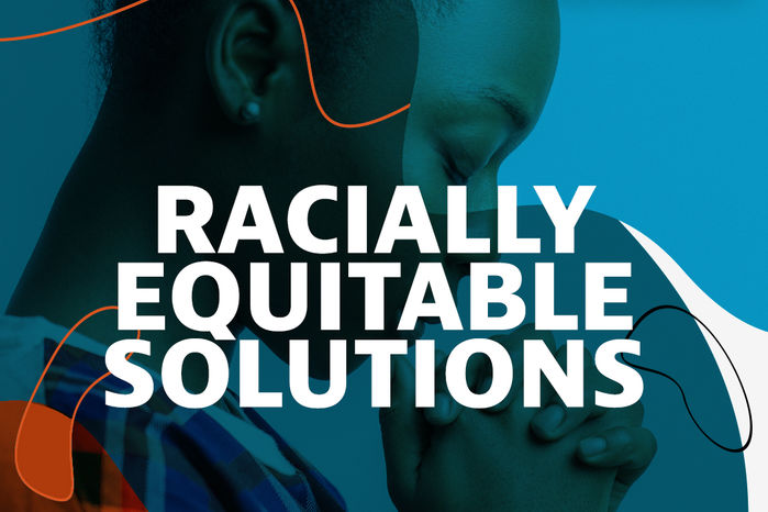 Black woman on a blue background with text reading: Principles for Racially Equitable Solutions
