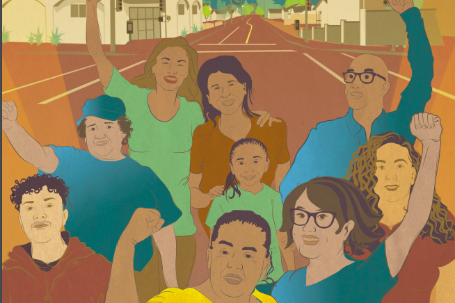 photo of people of color in the street in salinas in solidarity as a community