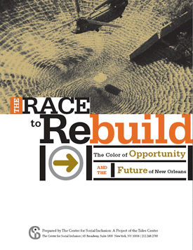 """Cover of report """"The Race to Rebuild: The Color of Opportunity and the Future of New Orleans"""""""