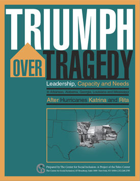 """Cover of report """"Triumph over Tragedy: Leadership, Capacity and Needs"""" A map highlighting Arkansas, Louisiana, Mississippi, Alabama, and Georgia."""