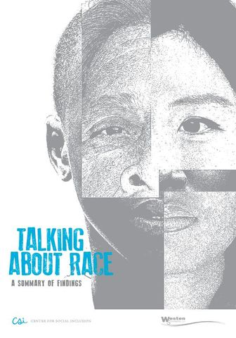 """Cover of report """"Talking About Race: A Summary of Findings"""" with drawing of five different faces segmented into one."""
