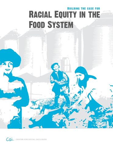 Cover for report with rough graphic of people on a farm with a pig and grain silos.