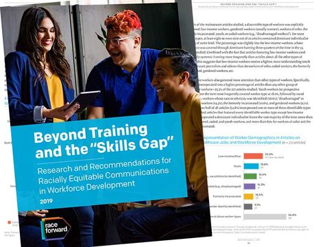 "Beyond Training and the ""Skills Gap"" cover and subtitle on blue background. Two people standing and one person sitting are laughing. One of the standing people is holding a tablet. The open report with a page including graphics is visible below the cover."