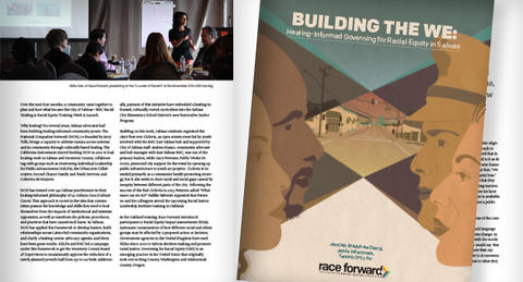 """Building the We"" cover over interior pages."