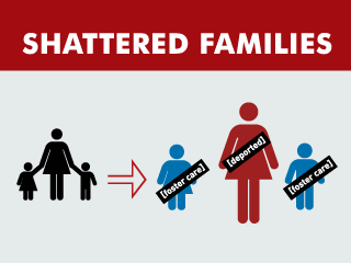 "Silhouette of parent and two children, an arrow pointing to family with parent labeled ""deported"" and children labeled ""foster care."""