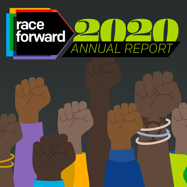 Race Forward 2020 Annual Report cover with many raised fists.