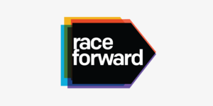 Race Forward logo (stylized arrow with fringe of different colors).