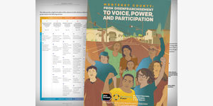 Cover and inside pages for Monterey County: Building the We 2 report. Background drawing of many people with arms raised standing on the street.