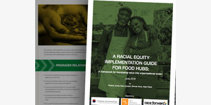Racial Equity Guide to Food Hubs cover and inside pages.