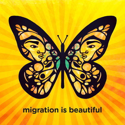 Stylized monarch butterfly with faces in the wing on a background of radiating orange and yellow stripes. Text: migration is beautiful