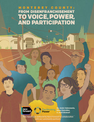 Cover for Monterey County: Building the We 2 report. Background drawing of many people with arms raised standing on the street.